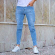 شلوار جین مردانه آبی روشن TOMMY_کد ۳۸۵۵