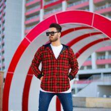 سوییشرت چهارخانه قرمز GUCCI_کد ۴۲۱۶